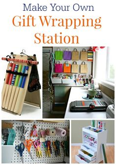 Create your own Gift Wrapping Station with these great ideas! Solutions for the space you have.