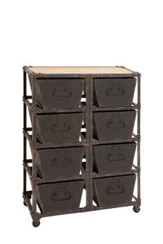 Rusty Brown Metal Wood Cabinet