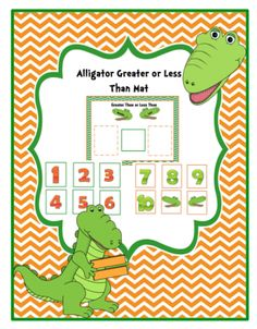 Alligator Greater or Less Than Mat from Preschool Printables on TeachersNotebook.com -  (7 pages)  - Mat with 2 set of numbers.