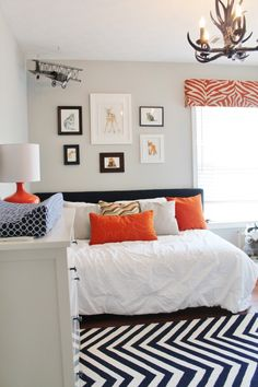 Modern Navy and Orange Woodland Nursery - #nursery #chevron #modern