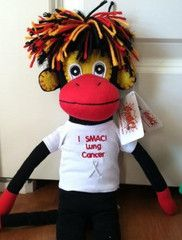 """Now available! Phoenix - the #lungcancer fighting SMAC! monkey wearing """"I SMAC! Lung Cancer"""" T-shirt. $28.99"""