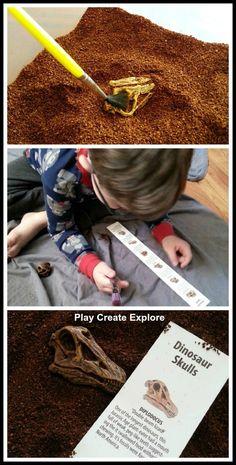 Play Create Explore: Dinosaur Fossil Dig Sensory Bin