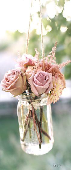 rose, mason jars