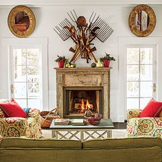 96 Living Room Decorating Ideas | Give a Small Room Big Style | SouthernLiving.com Mirror over door or window