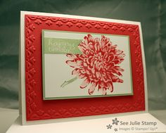 SU! Birthday card Stamp Sets: Blooming with Kindness, Banner Greetings. Colors: Old Olive, Elegant Eggplant, Whisper White, Strawberry Slush, Pistachio Pudding Big Shot: Framed Tulips Textured Impressions TM Folder , by Julie Wadlinger
