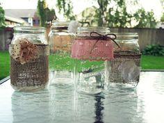 PS : ♡: diy : lace & burlap mason jars