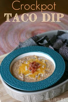 This Crockpot Taco Bean dip doesn't get much easier. It's perfect for fall parties and you can serve the dip right out of the slow cooker, keeping it warm for as long as you need.
