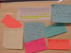 "The Stranger-This is a close up view of an anchor chart where the teacher combined excerpts from the story with student questions. (Read blog for a detailed explanation for ""how much our questions  lead us to understanding who the stranger really is."")"