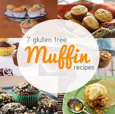 7 Gluten Free Muffin Recipes: Quinoa Blueberry Lemon Muffins, Banana Walnut Muffins (w/brown rice flour), Chocolate Muffins, Blackberry Almond Meal Muffins,  Chocolate Avocado Muffins and Cornbread Muffins. (@Courtney Lambert , @Shelby Thomas )