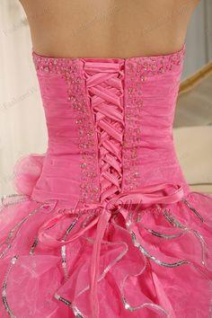 Ruffles Beaded Rose Pink Sweet Sixteen Quinceanera Dress