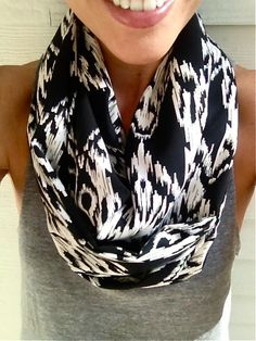 Black and White Aztec Infinity Scarf Fall Infinity by dAnn on Etsy #scarf, #infinityscarf, #aztec, #tribal, #fall