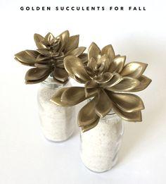 DIY Golden Succulents by kraft&mint - kraftmint.com