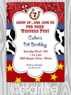 Western theme Birthday Party Invitation  Red Bandana by starwedd, $15.00