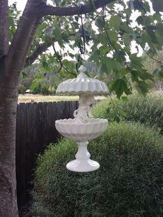 White milk glass and ceramic Cherub hanging bird feeder