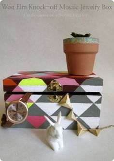 West Elm Inspired Painted Mosaic Jewelry Box
