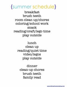 easy summer routine for kids 4-9