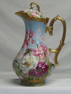 Phenomenal Artist Signed Limoges Chocolate Pot - from treasurehuntantiques on Ruby Lane