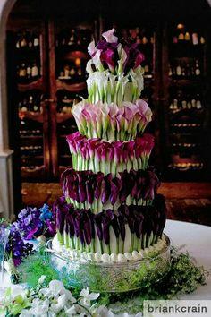 Multicolored and layered Calla lily cake