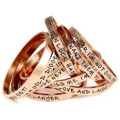 Rose gold Ettika bracelets with fun little sayings. marisamarie