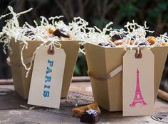 Easy DIY Paris themed treat boxes from Soleil Moon Frye's craft blog.