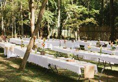 woodsy backyard, picnic tables, long tables wedding picnic, backyard picnic wedding, pretti, backyard weddings, wooded backyard wedding, picnic wedding theme, backyard reception