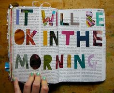 remember this, letter, art journals, book pages, altered books, magazin, mornings, cut outs, quot