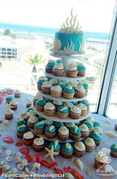 "Design W 0534 | 6"" Butter Cream Wedding Cake & Assorted Cupcakes | White Chocolate Seashells & Corals, Sugar Sand | Custom Quote"