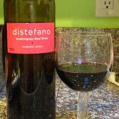 Distefano washington red wine. So good with food. Just had it with a smoked pork roast. A blend of Cab Sauvignon, merlot, and Cab franc.