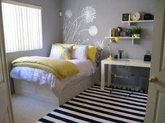Teen Girl's Room -Gray Yellow Black and White Minimalist theme, Dandelion Decal serves as a headboard