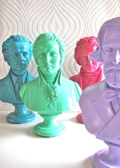Chopin Bust Statue in bright turquoise. $49.00, via Etsy.