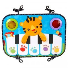 The Kick & Play Piano is a musical toy that can be attached to the foot of the crib so baby can use her legs to kick and play.