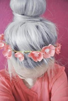 cute contrast of pink to platinum hair