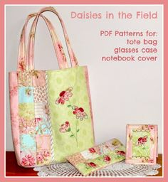 Daisies in the Field Quilted Tote Bag + Accessories - PDF Pattern by Val Laird Designs  #sewing #quilting