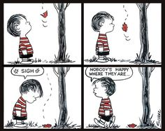 peanuts comic strip paintings from the 50s. 4 panels of linus via Etsy