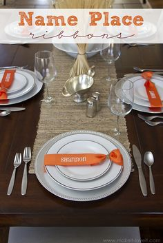DIY Name Place Ribbons for any table setting - from Make It Love It