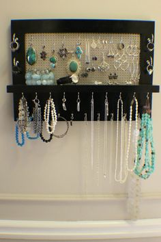 Black Lacquer Wall Mounted Jewelry Organizer, Wall Organizer, Jewelry Display, Necklace Holder, Earring Organizer