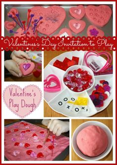 Valentines play dough activity tray.