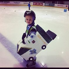 'Lil Zamboni doing a great job on the ice. Adorable.