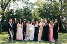 bridesmaids in mixed dresses