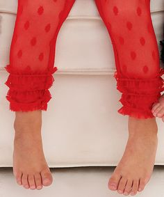 Look at this #zulilyfind! Red Polka Dot Lace Leggings - Infant by Mud Pie #zulilyfinds