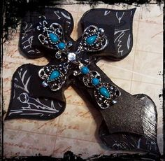 New Mexico Style Turquoise Scrap Book Cover Cross