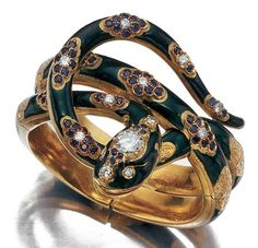 old, Green Enamel, Diamond and Sapphire Snake Bangle, Nardi   18 kt
