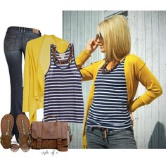 fashion, hair colors, color combos, blue, outfit, long bobs, the navy, stripe, mustard yellow