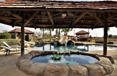 Covered Hot tub with rock