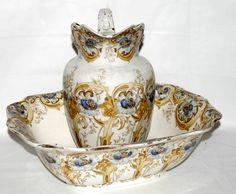 Victorian Demi Porcelain Wash Basin & Pitcher Set:):):  Beautiful!~!~!