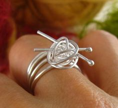 Art Awesome handmade ring of ball of yarn and knitting needles jewelry