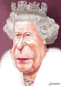 Queen Elizabeth #Caricature #FunnyFaces