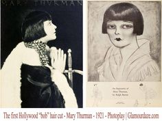 The-first-Page Boy Bob-hair-cut-1921-Mary-Thurman. The first moteworthy page boy haircut by an American actress was that of Mary Thurman. It created quite a stir, and was the most copied of all the Hollywood bobbed hairstyle imports from Europe.  #Downton #Fashion #Era