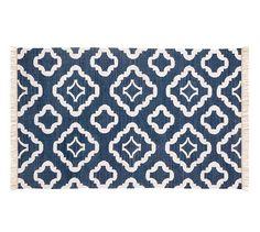 Patterned indoor/outdoor navy rug