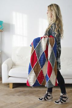 Harlequin crochet blanket pattern now for sale on Etsy by Wood and Wool Stool